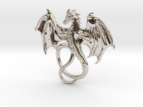 Dragon Pendant in Rhodium Plated Brass