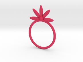 Flower Stacking Ring in Pink Processed Versatile Plastic
