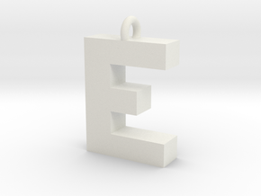 Alphabet (E) in White Natural Versatile Plastic