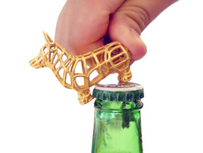 Corgi Bottle Opener Keychain in Polished Gold Steel