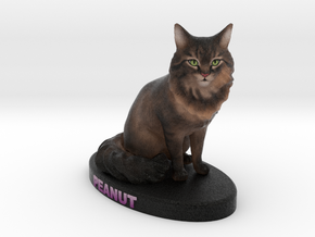 Custom Cat Figurine - Peanut in Full Color Sandstone