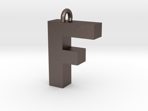 Alphabet (F) in Polished Bronzed Silver Steel