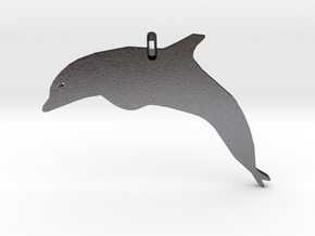Dolphin Necklace Piece in Polished and Bronzed Black Steel