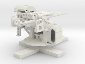 1:100 TYPE89 twin12.7cm Anti Air Gun in White Natural Versatile Plastic: 1:100