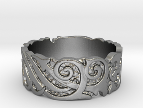 Ocean Kelp Forest Ring in Natural Silver