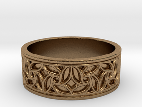 Gothic Pinwheel Tracery Ring in Natural Brass