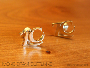 Monogram Cufflinks ZC in 18k Gold Plated Brass