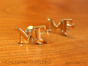 Monogram Cufflinks MF in 18k Gold Plated Brass