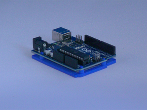 Low desktop stand for Arduino Uno / Leonardo / Yun in Blue Processed Versatile Plastic