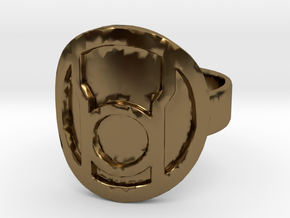 Red Lantern Ring in Polished Bronze