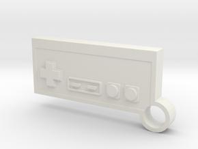 NES Controller Keychain in White Natural Versatile Plastic