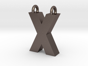 Alphabet (X) in Polished Bronzed Silver Steel