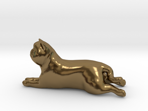 Laying Exotic Shorthair Cat in Polished Bronze
