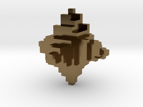 Metal Pixelated Desk Toy in Polished Bronze