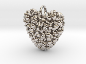 365 Hearts Pendant in Rhodium Plated Brass