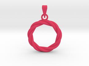 0210 Knot Pendant [3,3] (3cm) #001 in Pink Processed Versatile Plastic