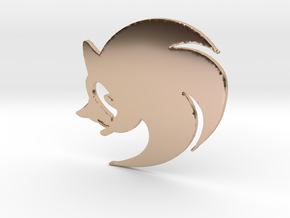 3D Sonic the Hedgehog Logo in 14k Rose Gold Plated Brass