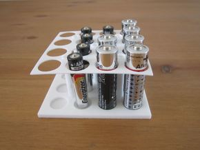 AA AAA Battery Holder X16 in White Natural Versatile Plastic