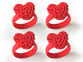 4 Pack 365 Hearts Napkin Rings in Red Processed Versatile Plastic