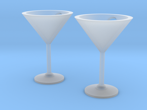 Martini Glass Earrings in Smooth Fine Detail Plastic