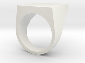 Flat Top Ring in White Natural Versatile Plastic