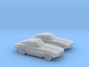 1/160 2X 1963 Corvette Stingray in Smooth Fine Detail Plastic
