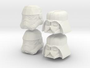 Starwars lego heads in White Natural Versatile Plastic