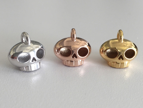 Little Skull Pendant in Rhodium Plated Brass
