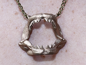 Great White Shark Jaw With Loop in Stainless Steel