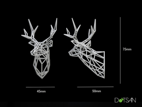 Small Stag Head Facing Right 75mm 1:12 Scale in White Natural Versatile Plastic