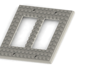 Lego-Inspired Base Switch Cover Plate (Double rock in White Natural Versatile Plastic