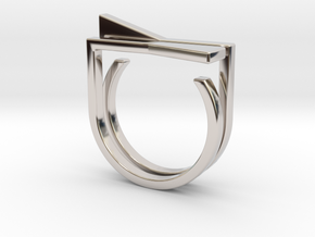 Adjustable ring. Basic set 8. in Rhodium Plated Brass