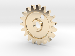 Cog Gear Key Chain / Pendant in 14K Yellow Gold