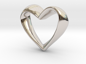 Twisted Heart in Rhodium Plated Brass