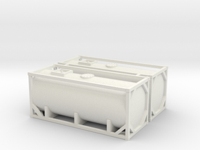 N Scale 20ft Tank Container (2pc) in White Strong & Flexible