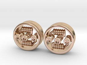 "NEW! RDA PLUG STYLE EARRINGS 5/8"" (Pair) in 14k Rose Gold Plated Brass"