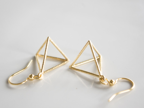 Tetrahedron Earrings in Natural Brass