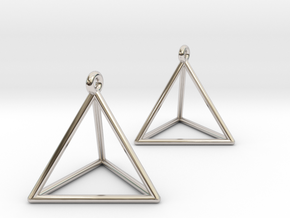Tetrahedron Earrings in Rhodium Plated Brass