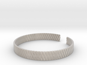 Weave Bangle (Medium) in Rhodium Plated Brass