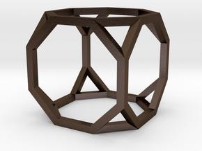 Truncated Cube(Leonardo-style model) in Polished Bronze Steel