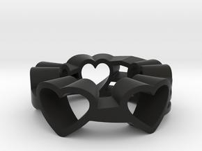 Love Lines Ring Size 7.25 in Black Natural Versatile Plastic