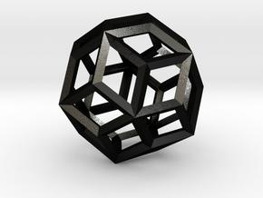 Rhombic Triacontahedron(Leonardo-style model) in Matte Black Steel