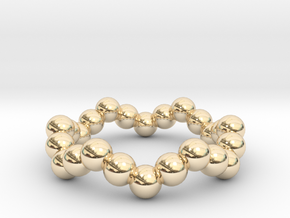Ring Sphere 1 waved in 14K Yellow Gold