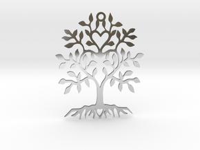 Tree Heart Pendant in Fine Detail Polished Silver