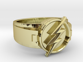 V2 Flash Ring Size 10.5, 20.20 mm in 18k Gold Plated Brass