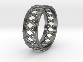 Knitted Ring-15 mm in Premium Silver