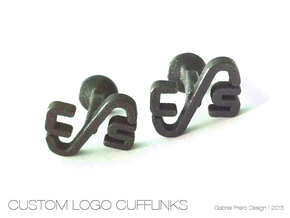 Custom Logo Cufflinks in Polished and Bronzed Black Steel