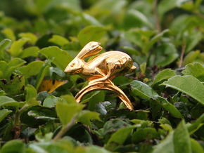 Running Rabbit Ring - Anticipation, Size7 in 14k Gold Plated Brass
