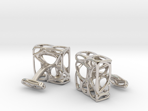 Organic Cufflinks in Rhodium Plated Brass