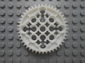LEGO®-compatible 44-tooth bevel gear w/ pinhole R2 in White Natural Versatile Plastic